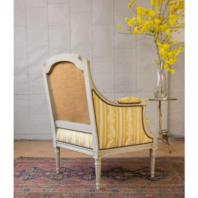 Silk Pair of French Louis XVI Style Armchairs For Sale - Image 7 of 12