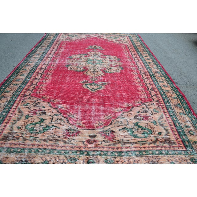 Islamic Modern Turkish Oushak Handwoven Tribal Red Wool Floral Rug For Sale - Image 3 of 7