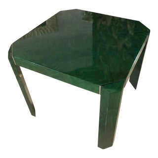 Vintage Hollywood Regency Faux Malachite Chrome Game Dining Table For Sale