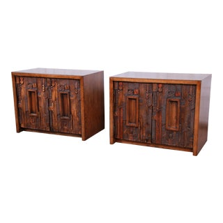 Lane Pueblo Brutalist Mid-Century Modern Oak Nightstands, Pair For Sale
