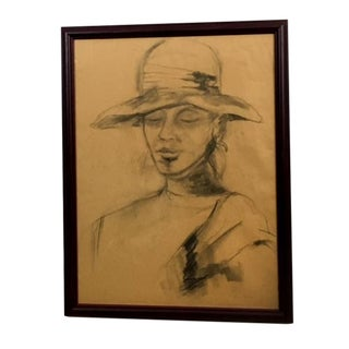 1970s Woman in a Hat Vintage Pencil Portrait by Tina Mann For Sale