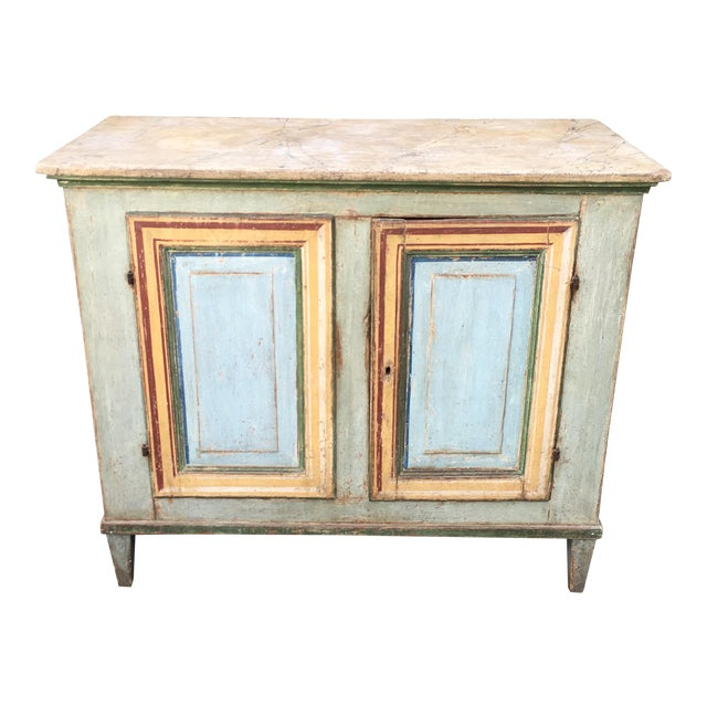 Superb Antique Paint Decorated Rustic Sideboard - Image 1 of 8