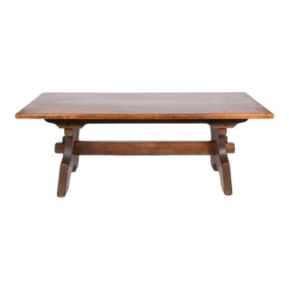 Rustic Dark Brown Trestle Dining Table For Sale