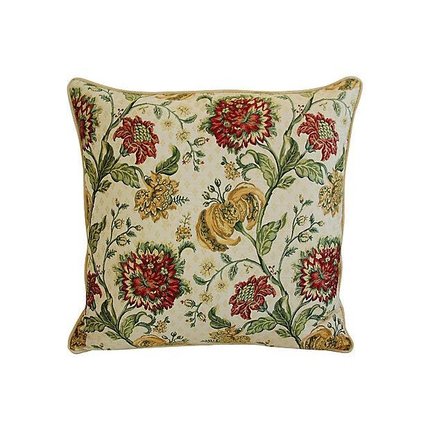 "Traditional Custom Scalamandre Floral Brocade Feather/Down Pillows 24"" Square - Pair For Sale - Image 3 of 14"
