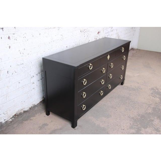 Hollywood Regency Baker Furniture Hollywood Regency Black Lacquered Dresser or Credenza, Newly Refinished For Sale - Image 3 of 10