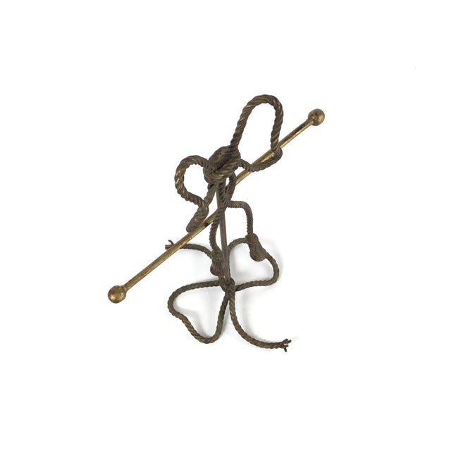Gold Gold Gilt Steel Rope and Tassel Themed Hand Towel/Jewelry Stand For Sale - Image 8 of 9
