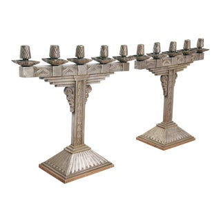 Pair of Art Deco Silvered Bronze Five-Light Candelabra For Sale
