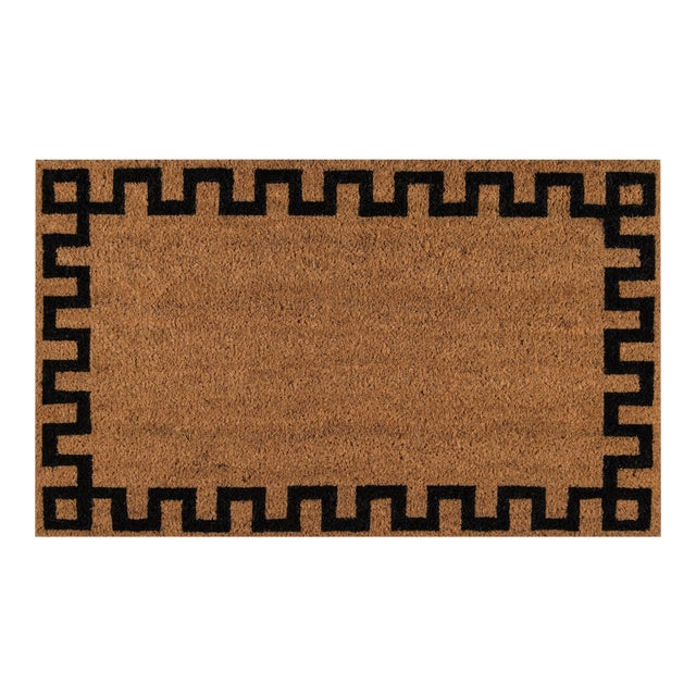 Image of Modern Erin Gates by Momeni Park Greek Key Natural Hand Woven Natural Coir Doormat- 1′6″ × 2′6″