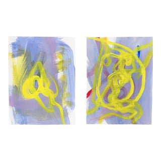 """""""Daffodils"""" Set of Two Original Paintings For Sale"""