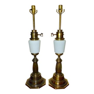 Vintage Stiffel Brass and White Porcelain Lamps - a Pair
