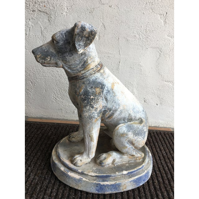 Wonderful statue of a dog Made of some sort of composite Incredible coloring and patina.