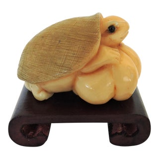 Netsuke Turtle With Scroll Stand