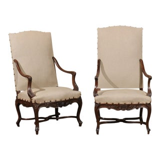 French Upholstered Carved Armchairs - a Pair For Sale