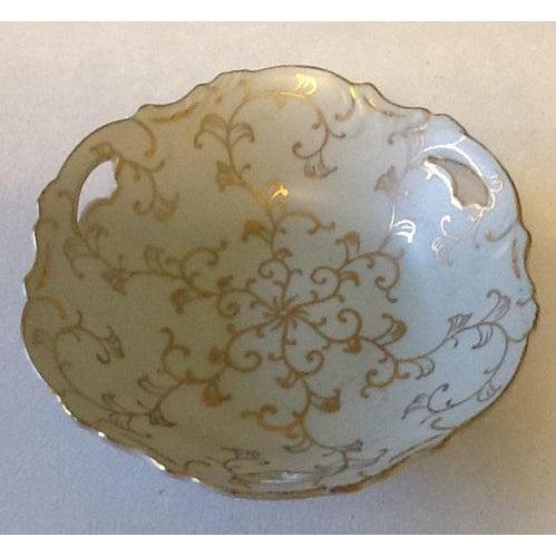 Ceramic Vintage Lenwile-Ardalt Hand Painted Pale Blue With Gold Porcelain Bowl For Sale - Image 7 of 7