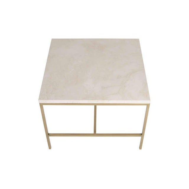 Hogue Travertine Top Side Table For Sale - Image 4 of 4