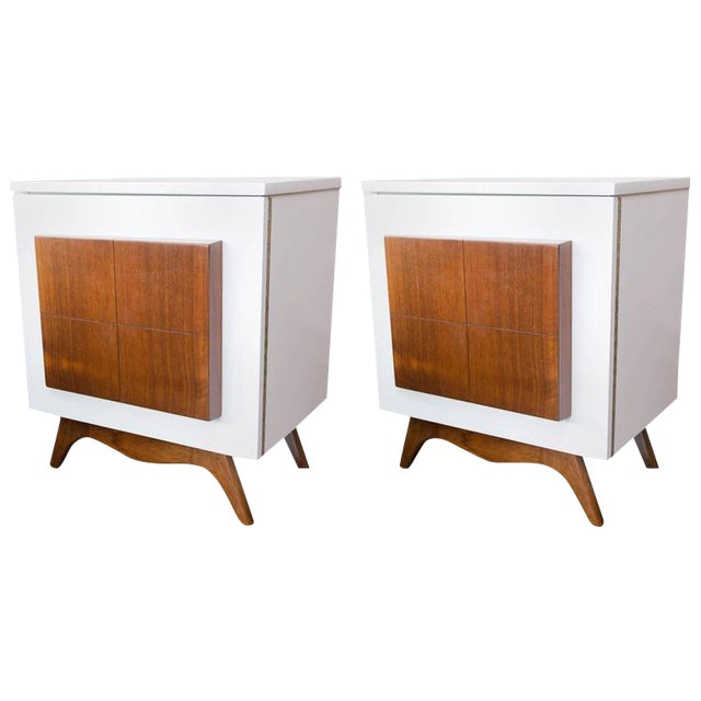 Mid-Century Modern Lacquered Nightstands - a Pair - Image 1 of 8