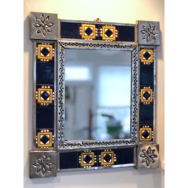 Vintage Mexican Blue and White Handmade Tile Mirror For Sale In New York - Image 6 of 12