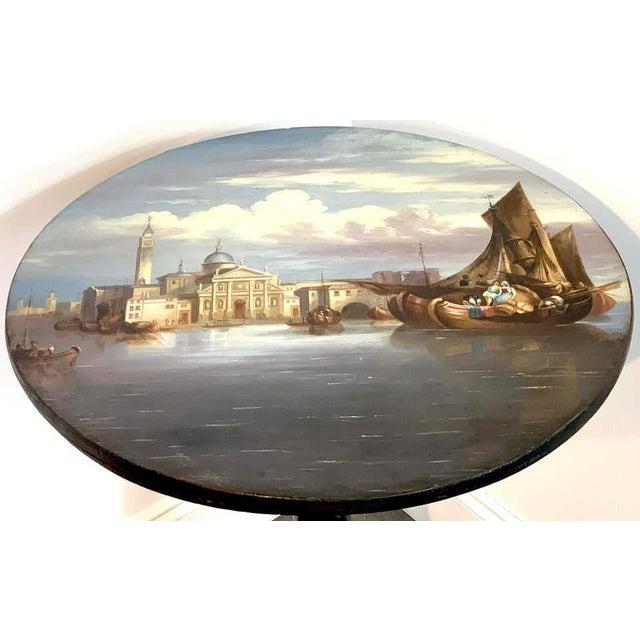 19th Century English Papier-Mâché Tilt-Top Table View of St Marks Square For Sale - Image 4 of 11