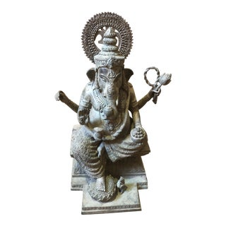 Antique Ganesh 4 Hands Hindu Statue For Sale