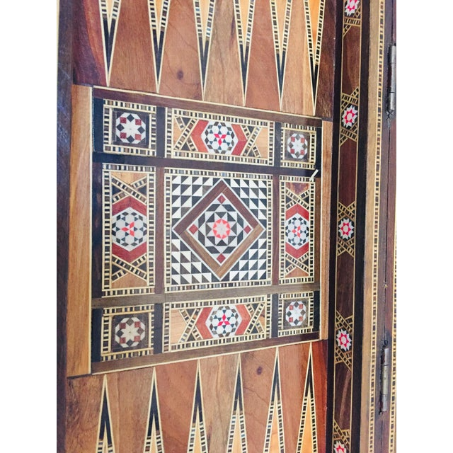 Vintage Mid-Century Syrian Inlaid Mosaic Backgammon and Chess Game For Sale In Los Angeles - Image 6 of 12