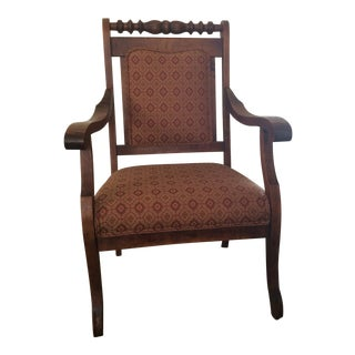 Mid Century Wooden Upholstered Seat and Back Arm Chair For Sale