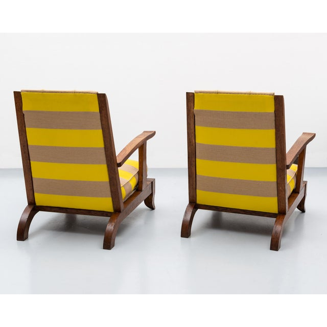 Art Deco French Lounge Chairs in Oak and Raf Simmons Fabric, 1940s For Sale - Image 3 of 11
