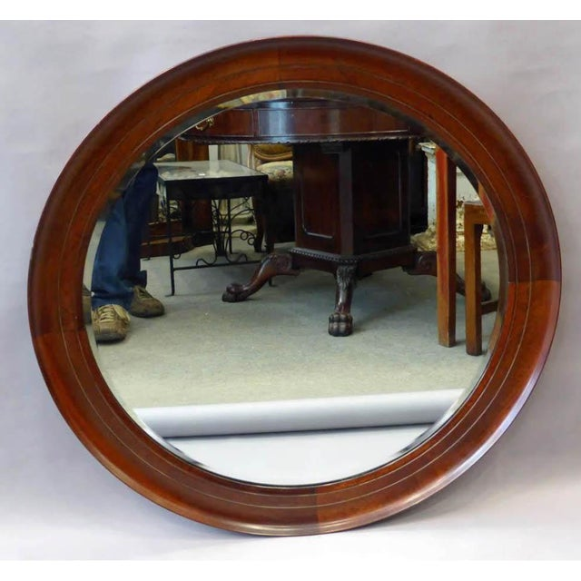 Great Mid-Century Modern mahogany round mirror , very nice simple molding in a great scale of 34'' diameter with a beveled...