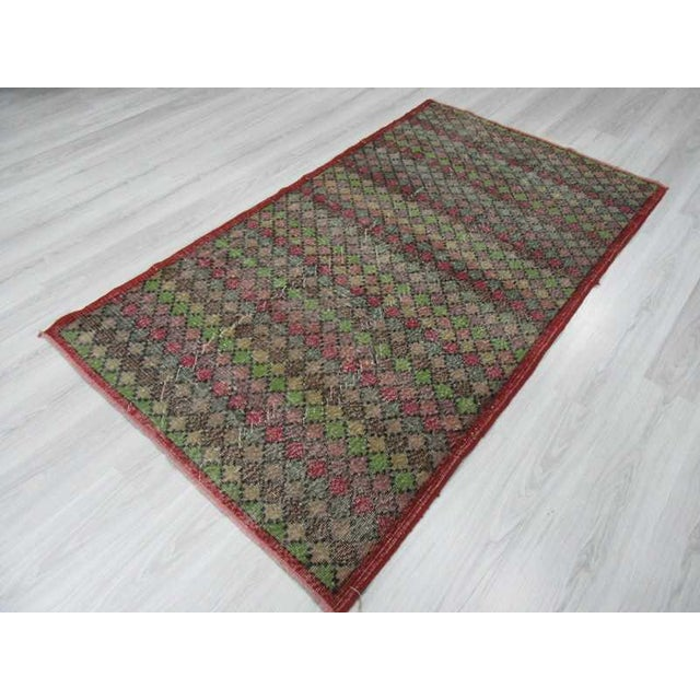 Vintage Turkish Art Deco Hand-Knotted Rug - 4′2″ × 7′4″ For Sale - Image 5 of 6