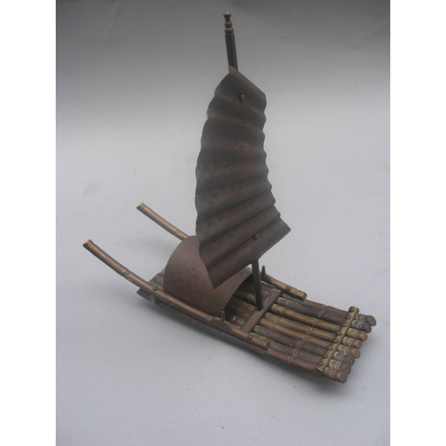 Brass Chinese Junk Boat Sculpture - Image 2 of 4