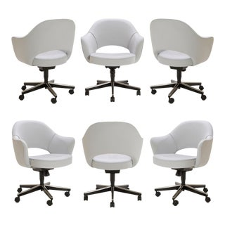 Saarinen Executive Arm Chairs in Fog Luxe Suede, Swivel Base, Set of 6