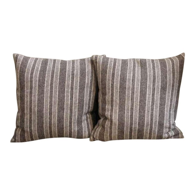 Late 19th Century Brown and Tan Wool Striped Pillows For Sale