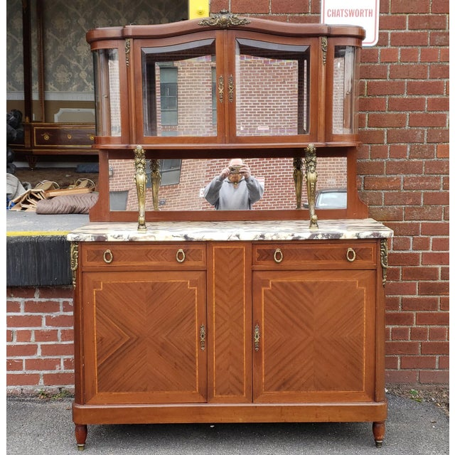 1950s French Louis XVI Style Walnut & Marble Top Dinning Room Hallway Cabinet For Sale - Image 13 of 13