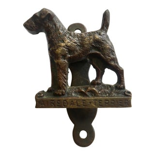 1950s Vintage Brass Airedale Terrier Dog Door Knocker For Sale