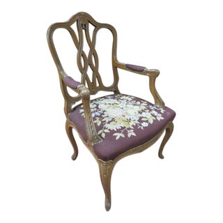 1930s Antique French Style Carved Walnut Chair For Sale