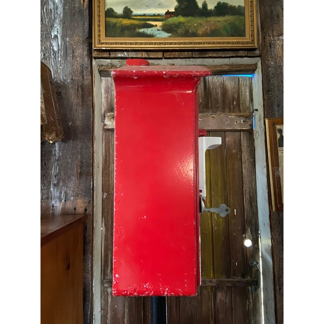 Mid 20th Century Mid-1900s Red Gamewell Cast Iron Fire Alarm Master Box W/ Western Electric Phone For Sale - Image 5 of 13