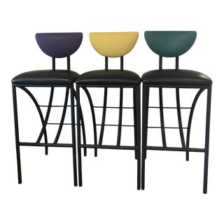 1990s Modern Memphis Style Bar Stools- Set of 3 For Sale