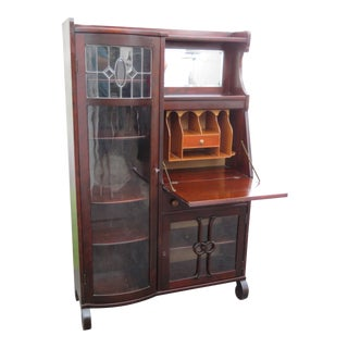 Solid Cherry Side by Side Bookcase Display Cabinet With Secretary Desk For Sale