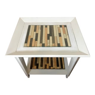 White Side Table W/ Rulers For Sale