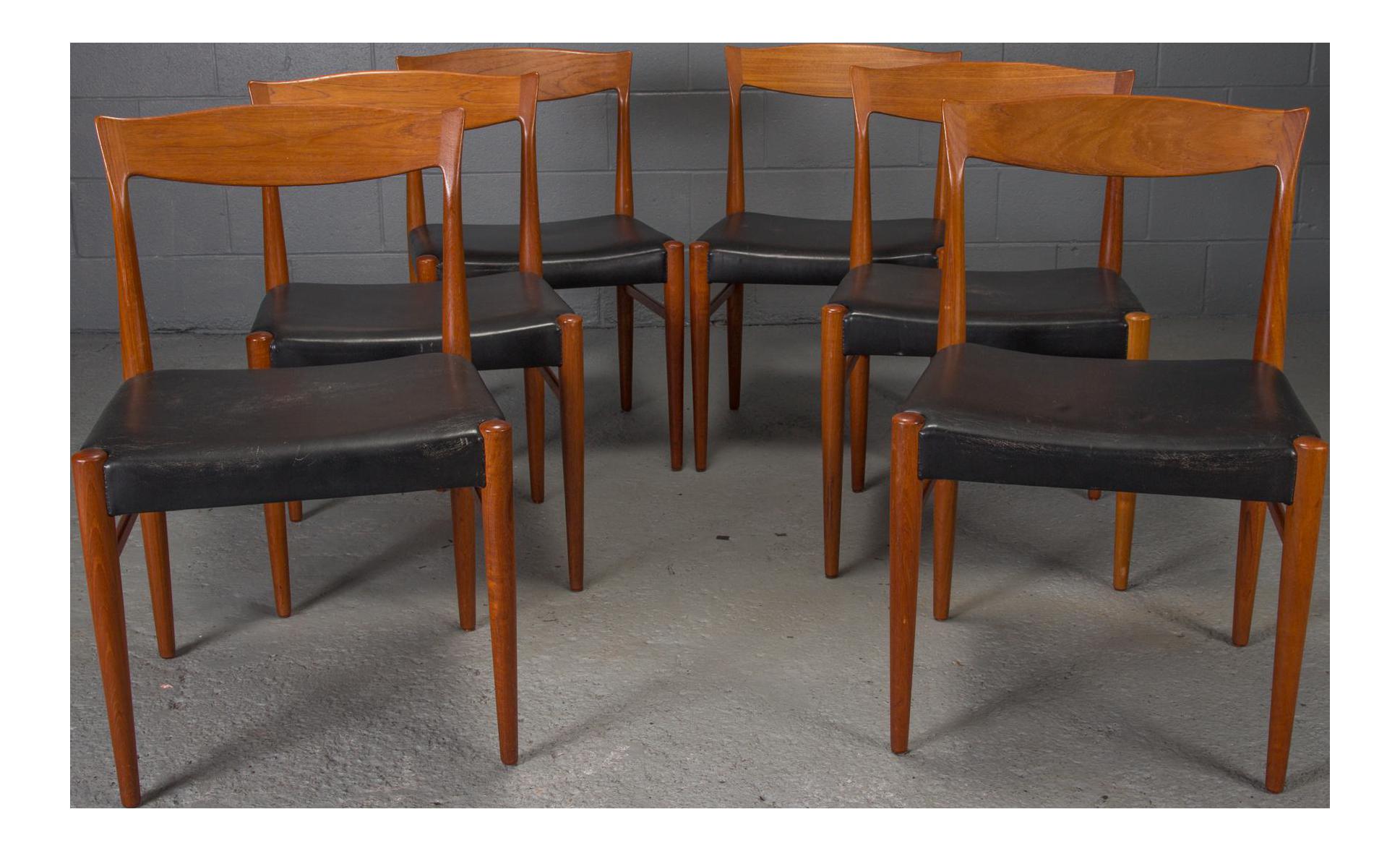 Teak Danish Modern Dining Chairs By Henning Kjaernulf   Set Of 6