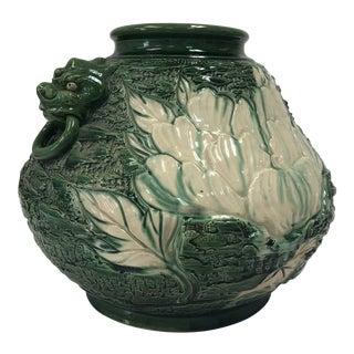 1970s Green Ceramic Pot With Asian Motif For Sale