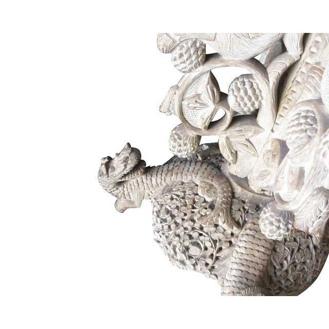 Large Hand-Carved Burmese Dragon Pedestal Planter For Sale - Image 9 of 10