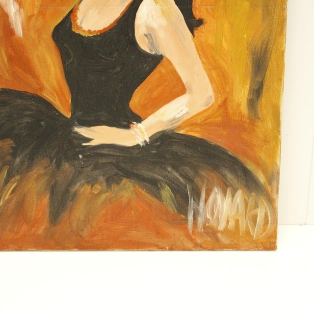 Abstract Vintage Original Signed Oil Painting of Spanish Ballerina For Sale - Image 3 of 3