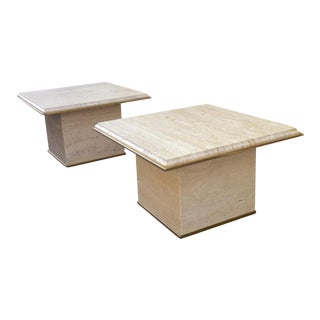 Guy Lefevre Pair of Marble Side Tables For Sale