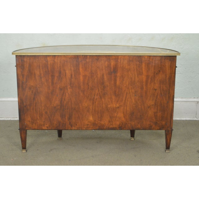 Theodore Alexander Inlaid Burl Wood Demilune Bow Front Side Cabinet Console For Sale In Philadelphia - Image 6 of 13