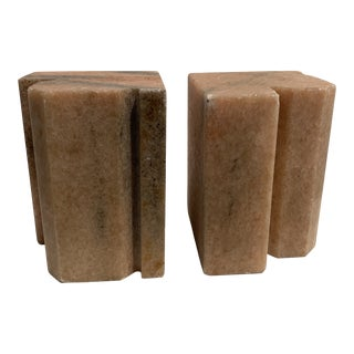Vintage 1960s Stone Marble Bookends For Sale