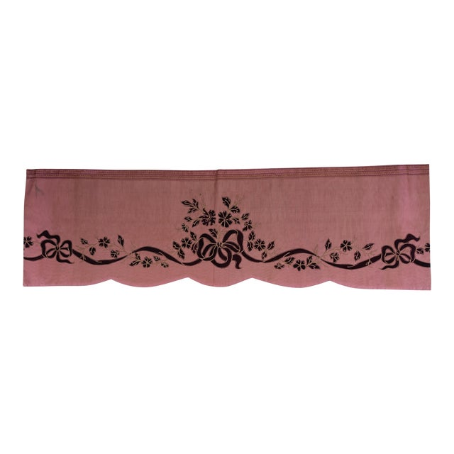 Pink Appliqued Window Valence With Ribbon & Bows For Sale
