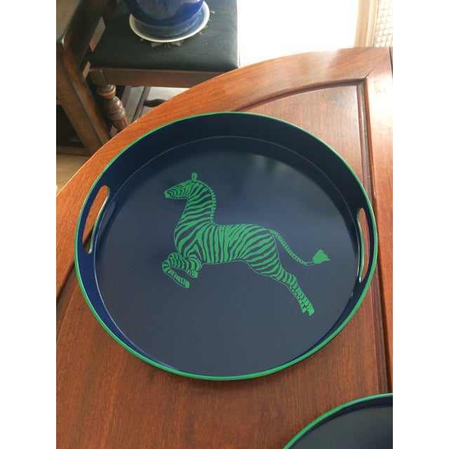 Zebra Scalamandre Inspired Navy and Green Tray For Sale - Image 9 of 11