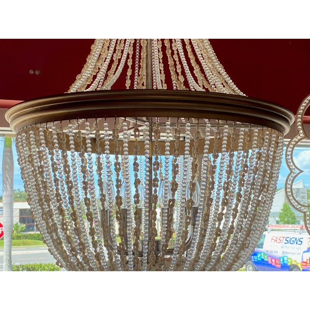 """Transparent French 64"""" Crystals and Shells 9 Light Coastal Chandelier For Sale - Image 8 of 13"""