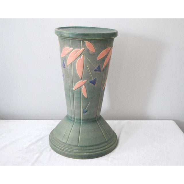 1920s 1920s Shabby Chic Roseville Pottery Futura Jardeniere and Pedestal For Sale - Image 5 of 13