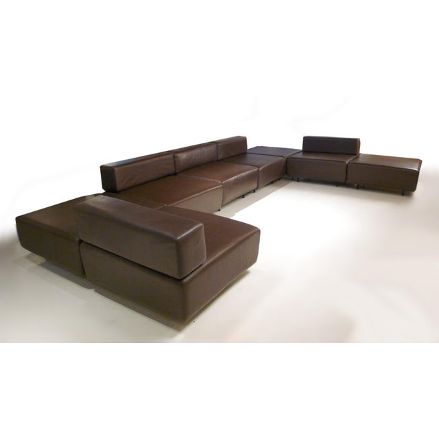 Harvey Probber Chocolate Brown Leather 'Cubo' Sectional Sofa - Image 1 of 9